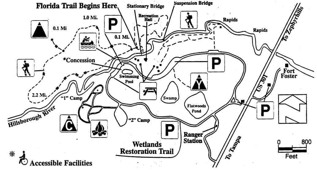 Florida State Parks Camping Map.Hillsborough River State Park Trail Map Hike It Florida